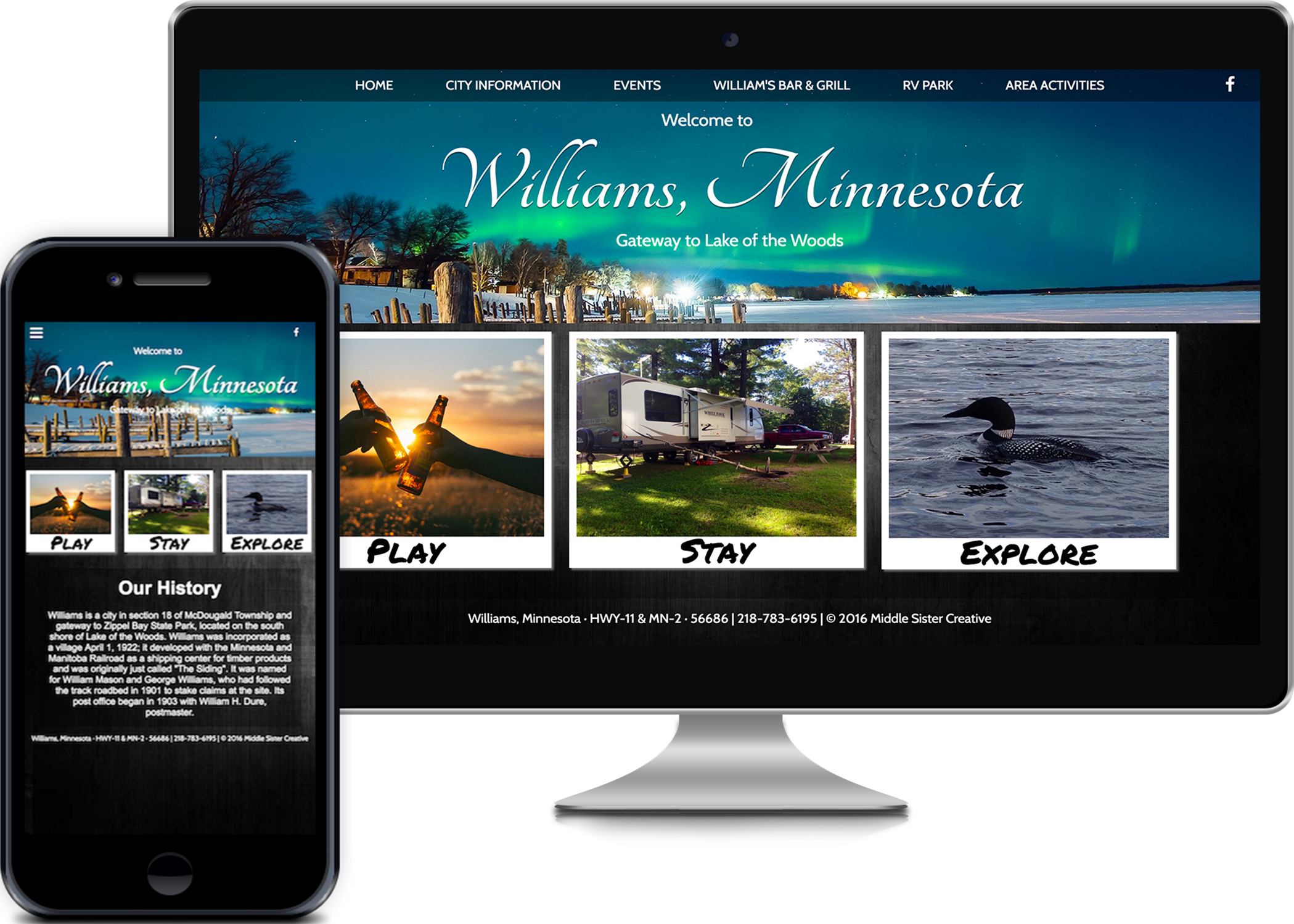 Middle Sister Creative project for Williams, Minnesota